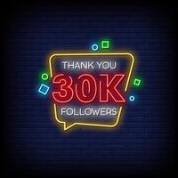 obrigado 30000 seguidores vetor de texto de estilo de sinais de néon