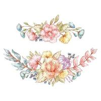 buquês de flores vintage estilo aquarela