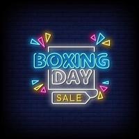 boxing day sale sinais de néon estilo vetor de texto