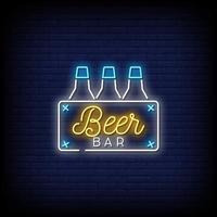 Vetor de texto de estilo de sinais de néon de bar de cerveja