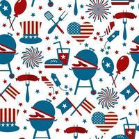 ícones de festa e memorial do quarto de julho. padrão sem emenda. vetor
