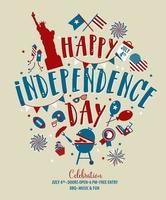 quarto de julho, união declarou a saudação do dia da independência. 4 de julho design tipográfico. utilizável para cartões, banners, impressão e convite. vetor