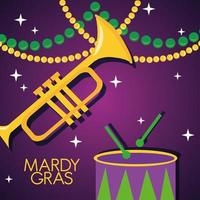 Pôster de celebração da grama mardi com tambor e trompete vetor