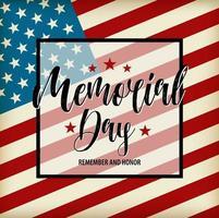 cartão do feliz dia do memorial do vetor. ilustração de feriado nacional americano com bandeira dos EUA. vetor