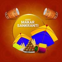 festival indiano makar sankranti com tambor criativo vetor