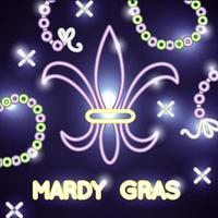 banner de celebração de grama mardi com luzes de néon e flor de lis vetor