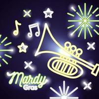 banner de celebração de grama mardi com luzes de néon e trompete vetor
