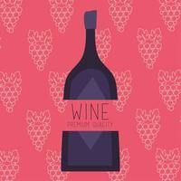 poster de vinho de qualidade premium com garrafa e uvas