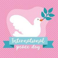 letras do dia internacional da paz com pomba e ramo de oliveira vetor