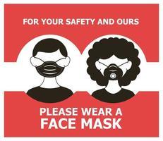 máscara necessária banner com casal usando máscaras vetor