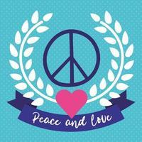 Dia internacional da paz letras com coração e símbolo vetor