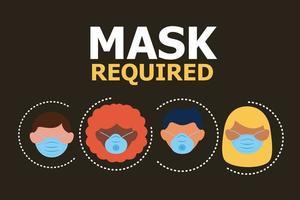 máscara necessária banner com pessoas usando máscaras vetor