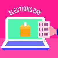 dia das eleições democracia com a mão e cartão de voto no laptop vetor