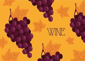 poster de vinho de qualidade premium com uvas vetor