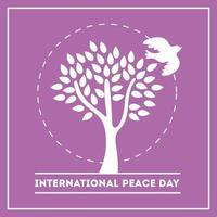 letras do dia internacional da paz com pomba e silhueta de árvore vetor