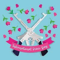 letras do dia internacional da paz com rifle e rosas vetor