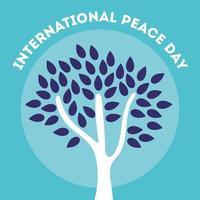 Dia internacional da paz letras com árvore vetor