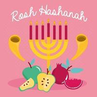 feliz celebração de Rosh Hashaná com lustre e frutas vetor