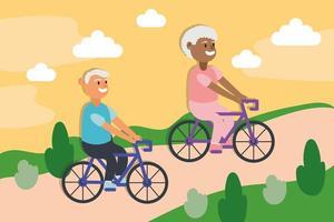 casal de idosos inter-raciais andando de bicicleta, personagens idosos ativos