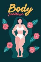 corpo letras positivas com mulher grande e flores vetor