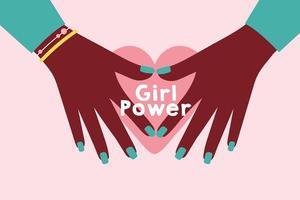 pôster de poder feminino com mãos afro fazendo um coração vetor
