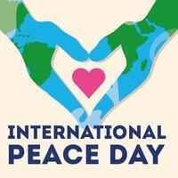 Dia internacional da paz letras com as mãos vetor