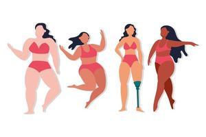 grupo de mulheres com diferentes tipos de corpo vetor