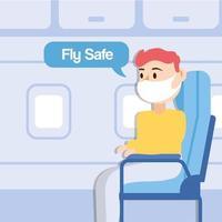 cartaz de letras da campanha voar seguro com passageiro falando no assento do avião vetor