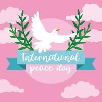 letras do dia internacional da paz com pomba voando e ramos vetor