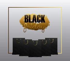 banner preto de venda sexta-feira com sacolas de compras