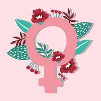 pôster de garota poderosa com símbolo feminino e flores vetor