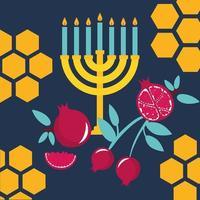 feliz rosh hashanah com frutas e lustre vetor
