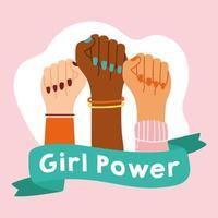 pôster de poder feminino com mãos inter-raciais vetor