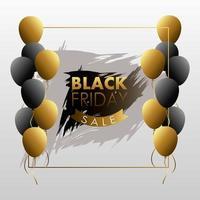 banner preto de venda sexta-feira com fita dourada e balões