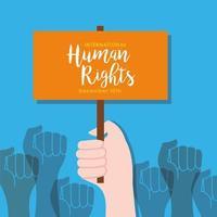 Letras de campanha de direitos humanos em banner com mãos protestando vetor