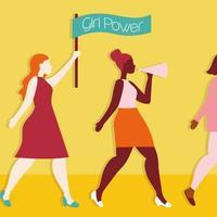 pôster de garota poderosa com garotas inter-raciais protestando com bandeira vetor
