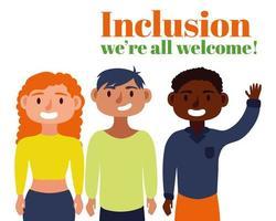 grupo de pessoas inter-raciais, conceito de inclusão vetor
