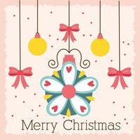 cartão comemorativo de feliz natal com enfeites vetor