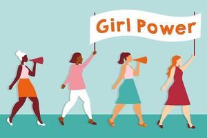 pôster de poder feminino com garotas inter-raciais protestando com banner vetor
