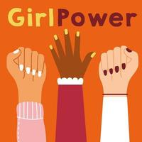 pôster de poder feminino com mãos inter-raciais para cima vetor