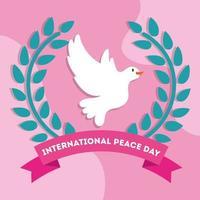 Dia internacional da paz letras com pomba vetor