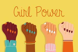 pôster de poder feminino com mãos inter-raciais para cima juntos vetor