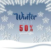 grande cartaz de venda de inverno com letras e flocos de neve vetor