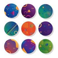 pacote de nove fundos circulares geométricos vívidos vetor