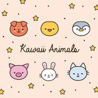 feixe de animais kawaii com estrelas e linha de letras e estilo de preenchimento