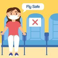cartaz de letras da campanha voar com segurança com passageiro em assentos de avião vetor