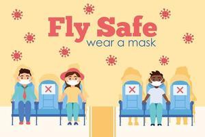 cartaz com letras da campanha voe seguro com passageiros em assentos de avião vetor