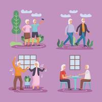 grupo de quatro casais de idosos ativos praticando atividades vetor