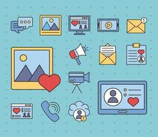 pacote de quatorze ícones de estilo de preenchimento e linha de mídia social vetor