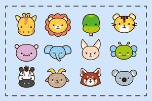pacote de doze animais kawaii alinham e preenchem o estilo